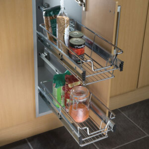 Pull-out wire basket set, for 300-900 mm cabinet width