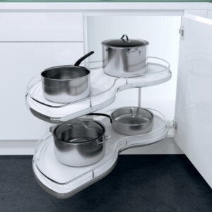 Twin corner pull-out shelving unit with railing, for 900 mm cabinet width