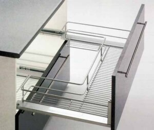 Pull-out undersink basket, for 900-1000 mm cabinet width