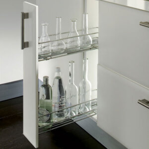 2 tier pull-out storage unit, side fixing only, for 150 mm cabinet width