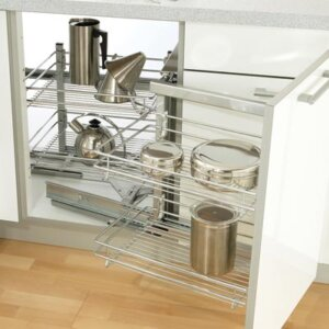 Swing out corner storage unit complete set, automatic pull-out action, with silver painted linear wire baskets, for 900/1000/1200 mm cabinets