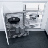 Swing out corner unit complete set, automatic pull-out action, with SAPHIR mesh wire baskets, for 900 mm cabinet