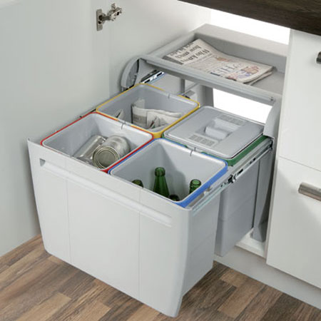 Hafele 60cm City Pull Out Waste Bin 4x 12 Litre Kitchen Recycling