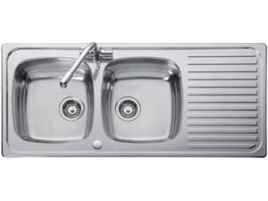 Double bowl and single drainer sink