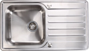 Stainless steel single bowl and drainer, 860 x 500 mm
