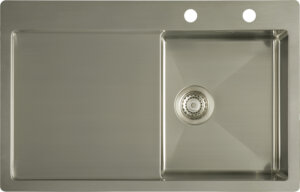 Flat rim single bowl sink with drainer