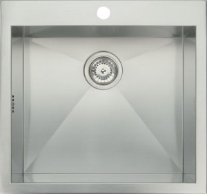 Stainless steel top mount single bowl, 540 x 510 mm