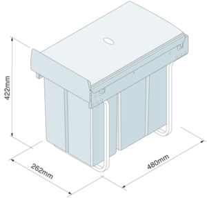 Dimensions for 30 litre pull out bin