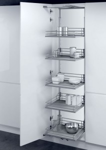 Larder unit with PREMEA solid grey base silver wire baskets