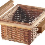 Wicker basket and runner set, for 500 mm width cabinet