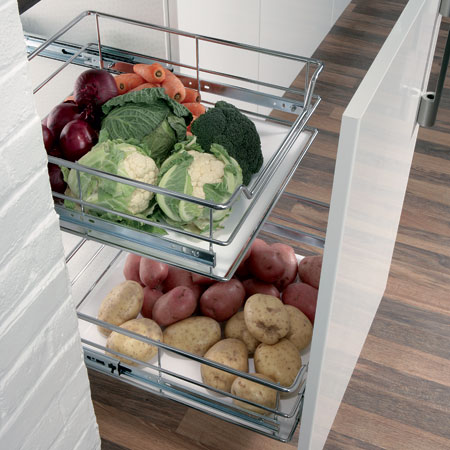 Pull-out vegetable baskets with runners, for 500 mm cabinet width