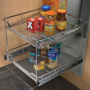 Pull-out storage baskets, side fix mesh version, for 300-500 mm cabinet width