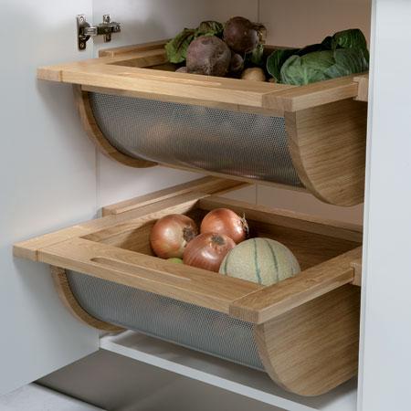 Vegetable basket drawer, for 500-600 mm cabinet width