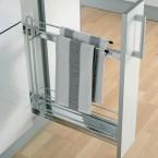 90° Storage basket and towel holder set, 100 mm width, for 150 mm cabinet width