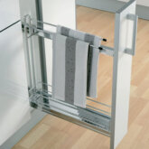 90° Storage basket and towel holder set, 100 mm width, for 150 mm cabinet width