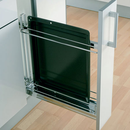 90º Storage basket and oven tray holder set, 100 mm width, for 150 mm cabinet width