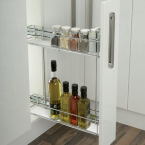 Pull-out storage unit, for 150 mm cabinet width, soft closing