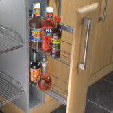 Pull-out storage unit, door front fixing, for 150 mm cabinet width