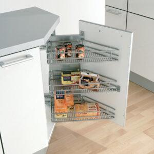 45º Rotary basket set, for 300 mm cabinet width