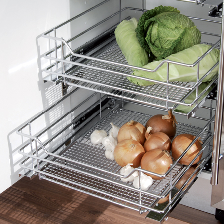 Vauth-Sagel pull-out storage set with chrome wire mesh baskets, for 400-600 mm cabinet width