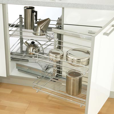 Swing out corner storage unit complete set, automatic pull-out action, with chrome plated linear wire baskets, for 900/1000/1200 mm cabinets