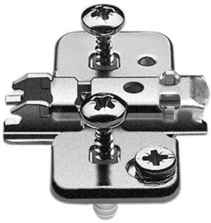 Blum 0mm cruciform cam mounting plate with split dowels and screws