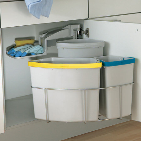 Hafele oeko centre swing out waste bin 40 litres 50cm cabinet for 50cm kitchen cabinets