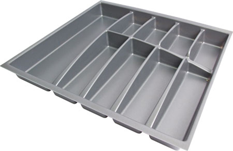 Cutlery insert, anthracite plastic, to suit Blum drawer boxes, 423 mm depth