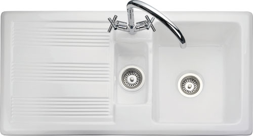 Rangemaster Portland CPL10102WH 1 1/2 bowl sink and drainer
