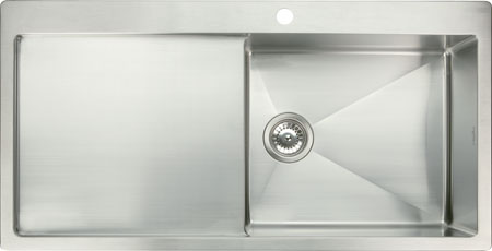 Stainless steel top mount single bowl and drainer