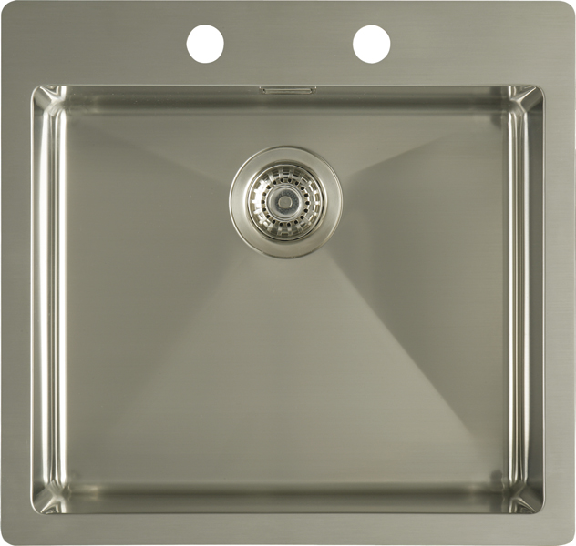 Flat rim single bowl sink