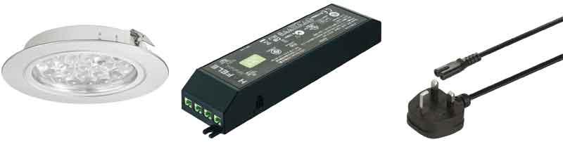 Loox 24V LED 3001 downlight, driver and mains lead set