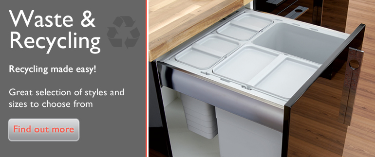 Kitchen Pull Out Waste Bins are available to buy online today from CP Kitchen Components. Integrated recycling bins are a must for any modern day kitchen especially now with the importance of recycling. Keep you worktops free from empty bottles and cardboard box with our easy to use recycling bins