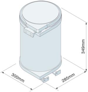 Dimensions for 12 Litre Waste Bin to suit 400mm base cabinet