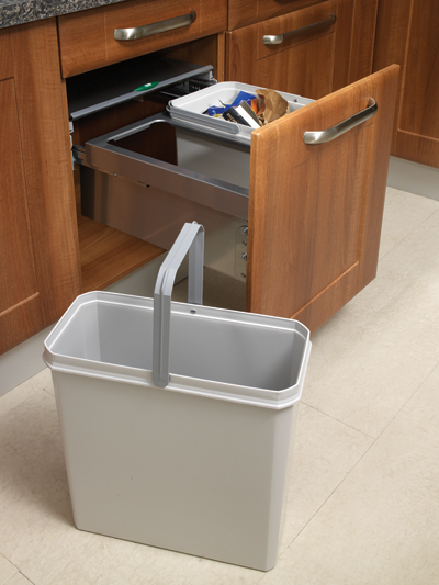 kitchen cabinets 500mm wide 50cm side mounted pull out waste bin 39 litre capacity 19927