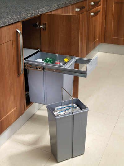 kitchen cabinets 300mm wide 30cm base mounted pull out bin with soft closing 30 litres 19892