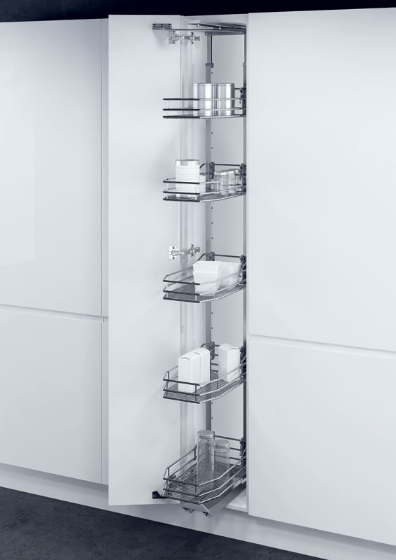 VSA swing out larder unit complete set, centre mounting, height adjustable (1200-2140 mm), full extension, with SAPHIR mesh chrome wire storage wire baskets, for 400 mm cabinet width