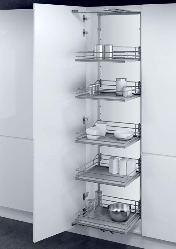 Larder unit with PREMEA solid grey base silver wire baskets
