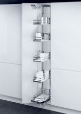 400 Larder unit with PREMEA solid white base chrome wire baskets