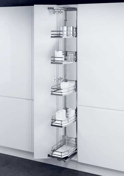 Larder unit with PREMEA solid white base chrome wire baskets